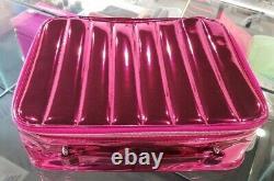 100 x LANCOME GLOSSY METALLIC PINK MAKEUP COSMETIC TRAIN CASE 2020 11.5x 9x3.5