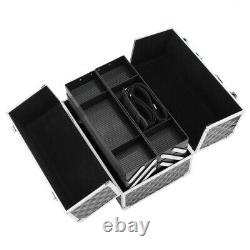 13.5 Makeup Train Case Professional Cosmetic Box with Adjustable Dividers 4 Tra