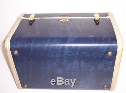 1950's Vintage Samsonite Train Case Blue Marbled Shwayder Bros. Ladies Make Up