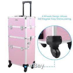 2 in 1 Black Rolling Aluminum Frame Makeup Lockable Train Case Pink 4 Wheels