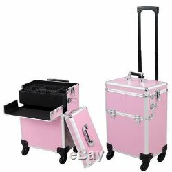 2 in 1 Large Rolling Makeup Case Cosmetic Box Pink Lockable 4 Wheel Train Case