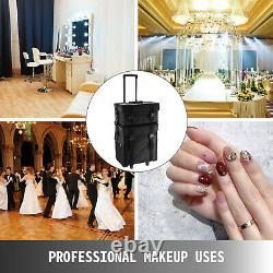2 in 1 Makeup Case Train Box Cosmetic Organizer Rolling Luggage Trolley Bag