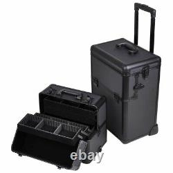 2-in-1 Rolling Cosmetic Makeup Artist Train Case with Aluminum Body (Black)