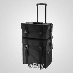 2 in 1 Rolling Makeup Case Train Box Cosmetic Organizer Luggage Trolley Bag