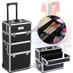 2-wheel 3-in-1 Professional Aluminum Artist Rolling Trolley Makeup Train Case