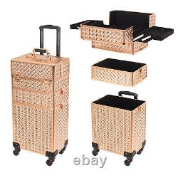 29In Aluminum 3in1 Rolling Makeup Trolley Train Case Cosmetic Box Organizer New