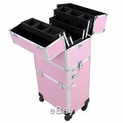 2In1 Aluminum Rolling Makeup Case Cosmetic Train Artist Lockable Pink 4 Wheel