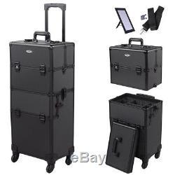 2In1 Rolling Aluminum Makeup Case Artist Lockable Cosmetic Train 4 Wheel Black