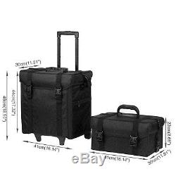 2In1 Rolling Aluminum Makeup Case withWheels Artist Cosmetic Organizer Box Pro