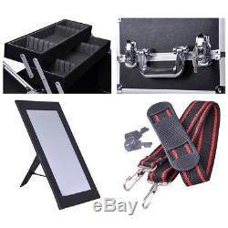 2in1 Aluminum Rolling Makeup Case Train Cosmetic Artist Hair Style Lock Box 38