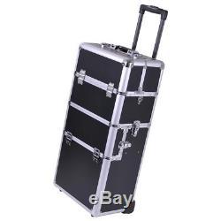 2in1 Rolling Aluminum Makeup Artist Cosmetic Train Case Box Black Silver