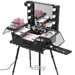 2in1 Rolling Makeup Case Trolley Train Box Organizer Beauty WithKey Salon
