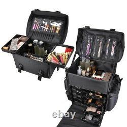 2in1 Rolling Makeup Case Trolley Train Box Organizer Cosmetic Travel Salon Bag