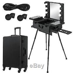 2in1 Rolling Makeup Case Trolley Train Box Organizer WithKey Travel Cosmetic