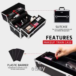 3 In 1 Rolling Makeup Train Case Aluminum Professional Artist Cosmetic Box