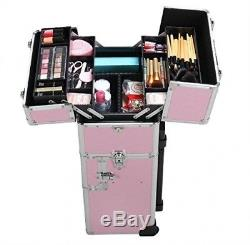 3 in 1 Aluminum Rolling Makeup Case Salon Cosmetic Organizer Trolley Train Pink