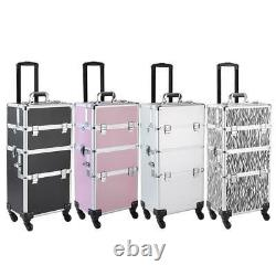 3 in 1 Aluminum Rolling Makeup Train Case Cosmetic Trolley Storage with 4 Wheels