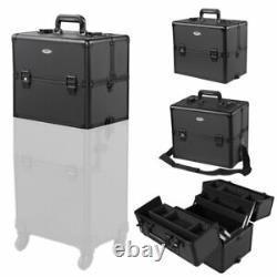 3 in 1 Rolling Cosmetic Makeup Case Salon Trolley Train Organizer Storage Box