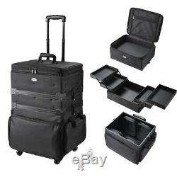 3 in 1 Rolling Cosmetic Makeup Case Soft Trolley 1680D Oxford Train Travel Gift