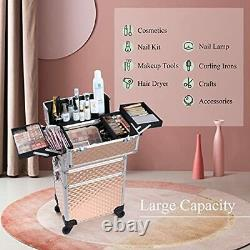 3 in 1 Rolling Makeup Train Case Cosmetic Trolley Large Storage for Rose Gold