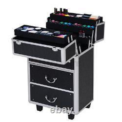 360° Rotating Rolling Makeup Train Case Tattoo Cosmetic Trolley Box Organizer