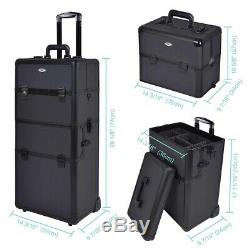 3in1 Aluminum Rolling Makeup Train Case Organizer Trolley Cosmetic Storage Box