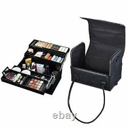 3in1 Leather Makeup Artist Travel Train Case Lockable Rolling Classic Black
