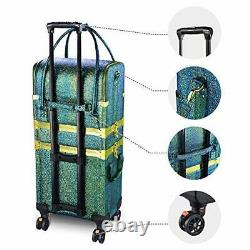 3in1 Leather Makeup Artist Travel Train Case Lockable Rolling Malachite Green