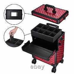 3in1 Rolling Makeup Train Case Professional Cosmetic Travel Vanity Organizer Box
