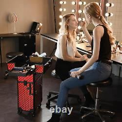 3in1 Rolling Professional Makeup Train Case Cosmetic Travel Vanity Organizer Box