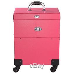 4 Rolling Wheel 14x9x17 PVC Makeup Cosmetic Train Case Lockable Box Artist