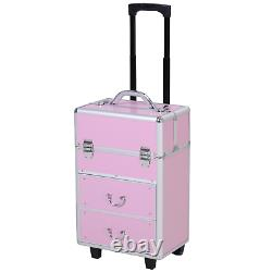 4 Tier Makeup Train Case Trays Pink Professional Travel Rolling Vanity Vertical