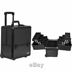 4-Tiers Easy-Slide Accordion Trays Pattern Professional Rolling Makeup Case
