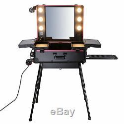 4 Wheel Rolling Makeup Studio Case LED Light Adjustable Leg Mirror Black Gift
