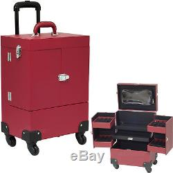4-Wheels Red Faux Leather Nail Artist Pro Rolling Case with 4 Foundation hold