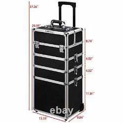 4 in 1 Aluminum Rolling Cosmetic Makeup Train Cases Trolley Professional Black