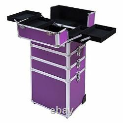 4 in 1 Aluminum Rolling Cosmetic Makeup Train Cases Trolley Purple