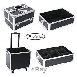 4 in 1 Aluminum Rolling Cosmetic Makeup Train Cases Wheel Trolley Organizer Box