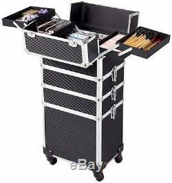 4 in 1 Aluminum wheel Makeup Trolley Train Case Box Organizer Tool Storage Draw