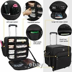 4 in 1 Rolling Makeup Case, Extra Large Trolley Makeup Train Case Professional
