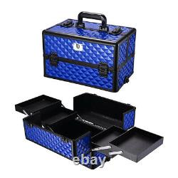4 in1 Aluminum Rolling Makeup Train Case Wheel Professional Cosmetic Box Stroge