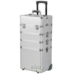 4in1 Pro Aluminum Rolling Makeup Train Case 4Wheel Cosmetic Box Drawer Organizer
