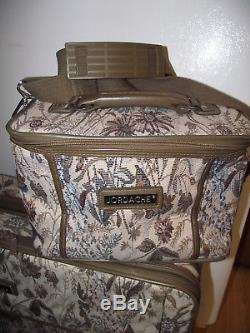 4pc JORDACHE Tapestry LUGGAGE Rolling STRAPS Train & MakeUP CASE Carry On EXC