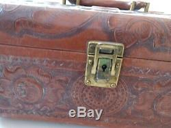 50s Vintage Leather Tooled COSMETIC TRAIN CASE Mexican Western with Mirror