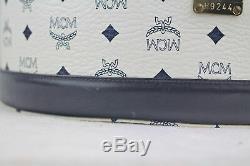 80s Vintage MCM Visetos Blue White Logo TRAIN CASE Makeup Vanity Luggage, Strap
