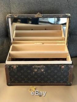AUTH LOUIS VUITTON VINTAGE BOITE TRUNK Train Case MAKEUP BOX Mirror HAND BAG