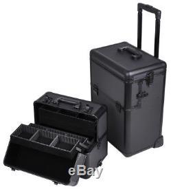 AW 2in1 Aluminum Cosmetic Makeup Artist Show Train Case Lock Shoulder Strap Box