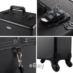 AW 2in1 Pro 4 Wheel Rolling Makeup Cosmetic Train Case Aluminum Lockable Box