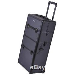 AW 2in1 Rolling Aluminum Makeup Artist Cosmetic Train Case Box Black