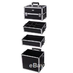 AW 2in1 Rolling Aluminum Makeup Artist Cosmetic Train Case Box with Handle & Lock